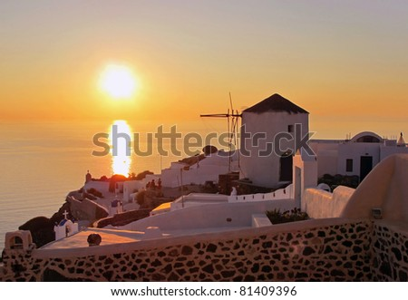 sunset, Santorini, Greece - stock photo