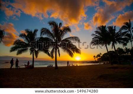 sunset scene at tropical beach...