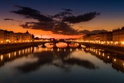Sunset scene from Ponte S. Trinita BRIDGE, Firenze. Skyline Florence Landscape
