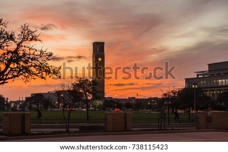 sunset scene in aggie land with ...