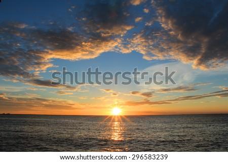 Sunset scene in the sea
