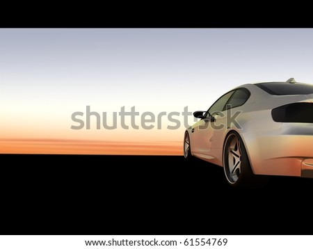 Sunset Scene, Silver business executive sports car / sportscar - Cropped Shot