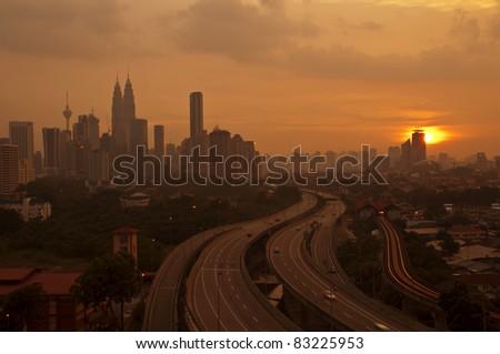 Sunset scenery of Kuala Lumpur city