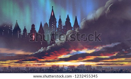 sunset scenery of the dark castles on black clouds above the city, digital art style, illustration painting