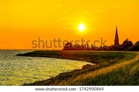 Sunset sea coastline silhouette landscape