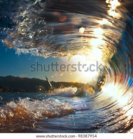 sunset sea curly breaking wave shining in sunlight