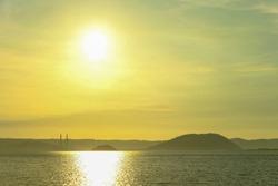 sunset sea in japan(saga).  surface of the sea shining.