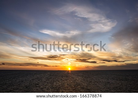 Sunset sea scape, Norway cruise