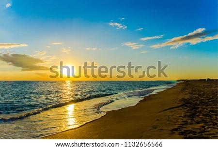 Sunset sea shore horizon landscape