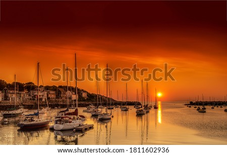 Sunset sea yachts in yacht club. Yachting sunset scene. Sunset yachts view. Yachts in sunset bay