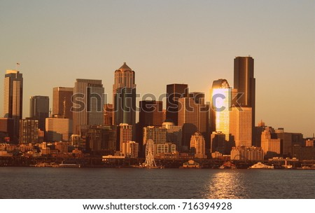 Sunset seattle skyline #716394928