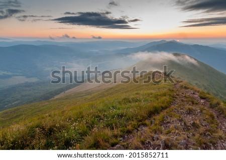 Sunset seen from the summit of Połonina Caryńska, Bieszczady, Bieszczady National Park Zdjęcia stock ©