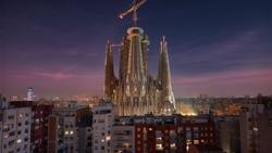 Sunset Shot at Sagrada Familia Temple in Barcelona. Sagrada Familia is the most known Gaudi construction in Barcelona.