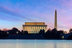 Sunset shot of Washington monument and Lincoln Memorial  in Washington, D.C. USA