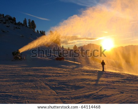Sunset silhouette on the downhill course