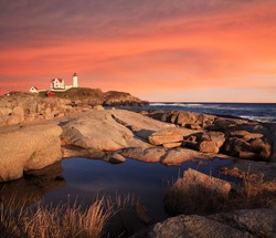 Sunset Skies At The Nubble Light, A Pastoral New England Seascape, Cape Neddick, Maine