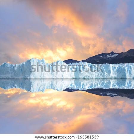 Sunset sky above the glacier.