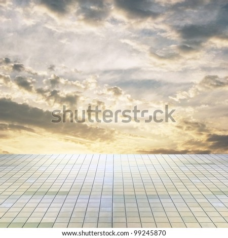 sunset sky and grey floor, background