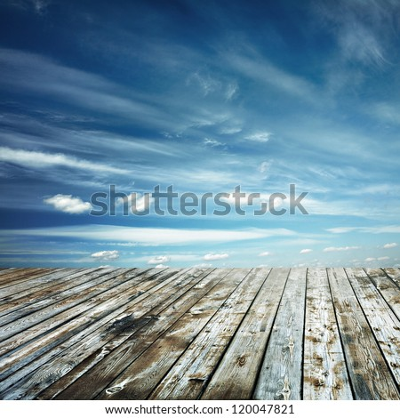 sunset sky and wood floor, background