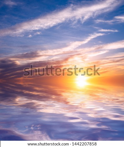 Sunset sky, clouds backlit by the sun over the sea. Natural Dawn Composition #1442207858