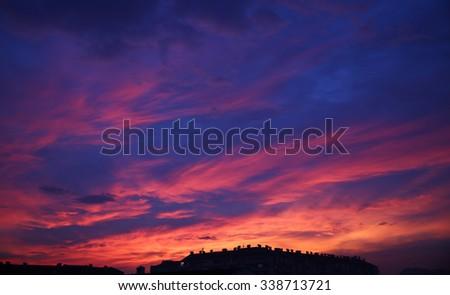 sunset sky clouds. Beautiful Cityscape Background. #338713721