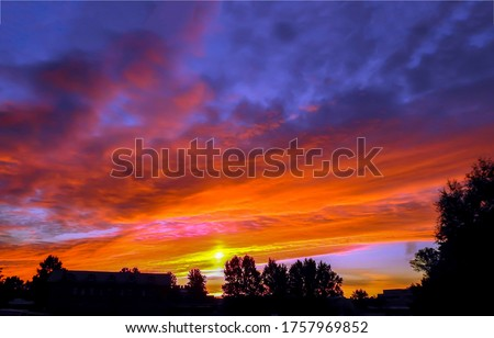 Sunset sky clouds view. Sky clouds in sunset. Cloudy sky sunset view