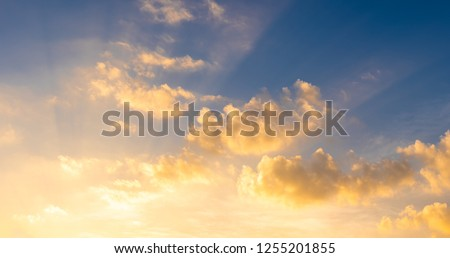 Sunset sky for background, sunrise sky and cloud at morning. #1255201855