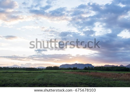 Sunset sky in evening time  #675678103