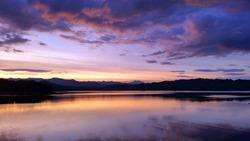 Sunset sky lake
