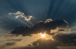 Sunset sky natural light streams into sunset