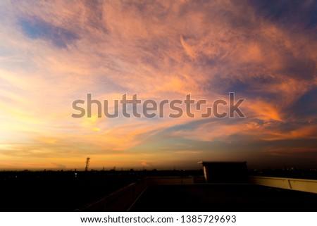 sunset sky on a beautiful sky #1385729693
