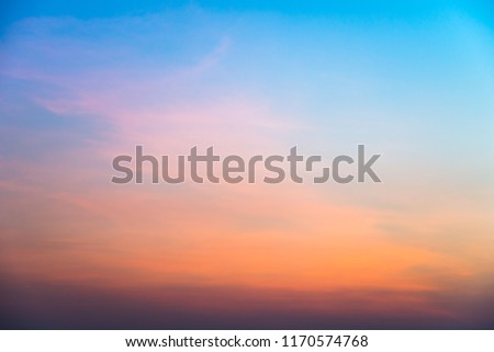 sunset sky on the beach,Sunset Sky with tiny clouds background.