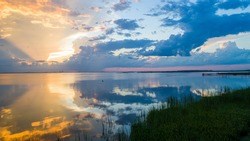 Sunset sky on the eastern shore of Mobile Bay, Alabama