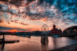 Sunset sky over Cardiff bay from Mermaid quay