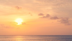 Sunset sky over sea in the evening with colorful orange sunlight and sundown landscapes,Dusk sky.