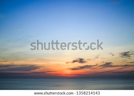 Sunset sky over tropical sea