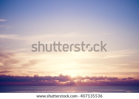 Shutterstock Sunset sky over tropical sea. Vintage filter