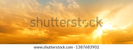 sunset sky panorama landscape background natural color of evening landscape with setting sun light coming through clouds panoramic view Photo stock ©