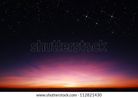 sunset sky star background light sunrise nature for design #112821430