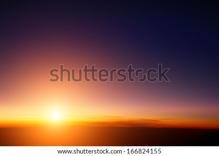 Sunset Sky Stratosphere Background, Pictured From Plane.