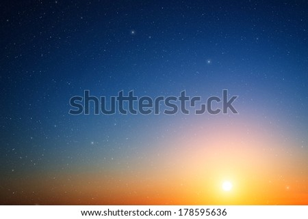Sunset sky with stars. #178595636
