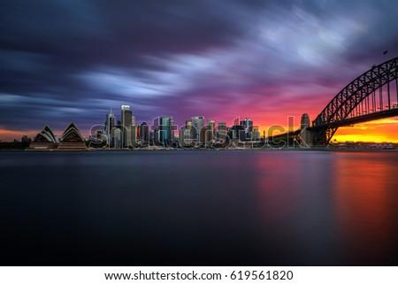 Sunset skyline of Sydney downtown  with Harbour Bridge, NSW, Australia. Long exposure.