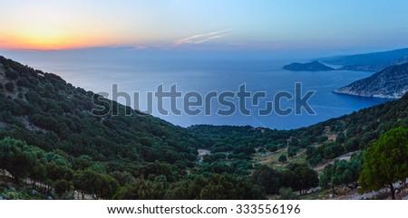 Sunset summer coastline landscape ( Kefalonia, Greece). #333556196