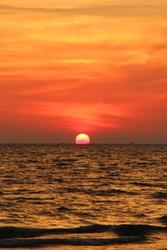sunset, sun, sea