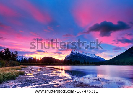 Sunset sunrise above Vermilion Lakes, Banff National Park, Canada #167475311