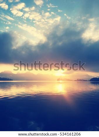 Sunset,Sunrise  at the lake   nature background #534161206