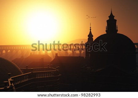 Sunset Sunrise in Rome 3D render