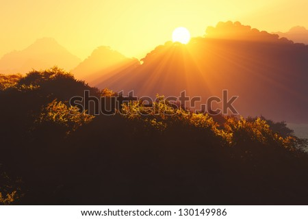 Sunset Sunrise in the Deep Jungle 3D render - stock photo