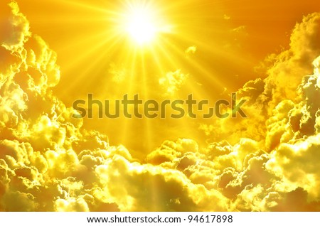 Sunset / sunrise with clouds, light rays and other atmospheric e - stock photo