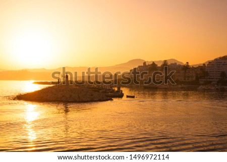 Sunset. Sunset at the port of Estepona. Costa del Sol, Andalusia, Malaga.